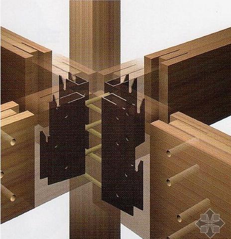 而在防腐木结构连接的地方则采用了新型的钢架连接件