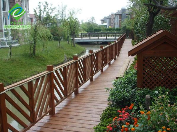 木桥栏杆,凉亭,亲水平台